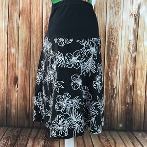 Maternity Black White Floral Skirt Summer Career